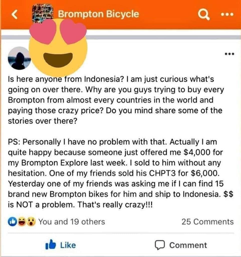 Orang Inggris Happy jual Brompton di Indonesia