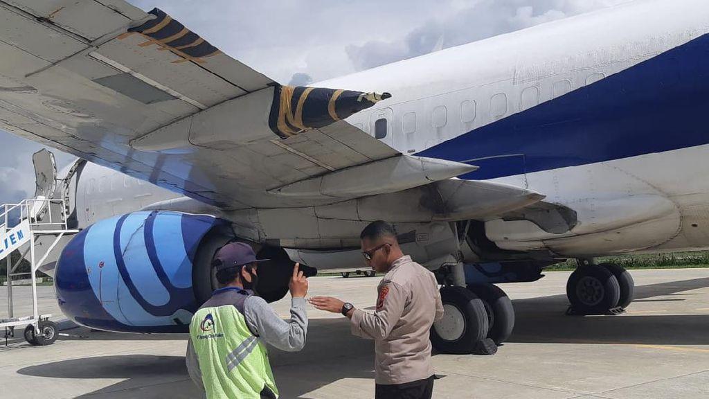 Pesawat Trigana Air Miring Bodi Saat Mendarat di Wamena, Sayap Kiri Rusak