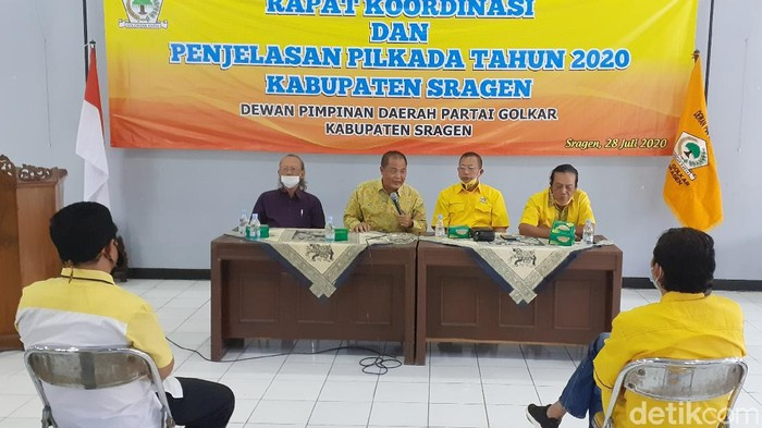 Rapat Koordinasi dan Penjelasan Pilkada 2020 di kantor DPD II Partai Golkar Sragen, Selasa (28/7/2020).