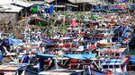 Tak Melaut, Ratusan Kapal Nelayan Bersandar di Lebak Banten