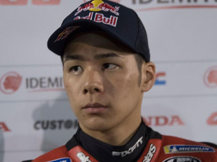 DOHA, QATAR - FEBRUARY 24: Takaaki Nakagami of Japan and LCR Honda Idemitsu   speaks with journalists during the MotoGP Tests at Losail Circuit on February 24, 2020 in Doha, Qatar. (Photo by Mirco Lazzari gp/Getty Images)