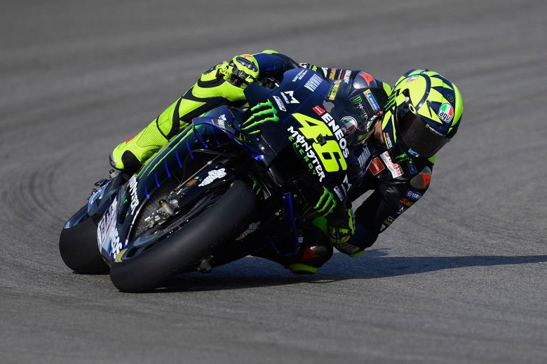 JEREZ DE LA FRONTERA, SPAIN - JULY 17: Valentino Rossi of Italy and Monster Energy Yamaha MotoGP Team rounds the bend during the MotoGP of Spain - Free Practice at Circuito de Jerez on July 17, 2020 in Jerez de la Frontera, Spain. (Photo by Mirco Lazzari gp/Getty Images)