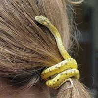 Bagi orang yang tidak tahu, mungkin akan terkejut dan bisa-bisa memukul kepala di perempuan ini karena dikira ular asli. (dok Bored Panda)