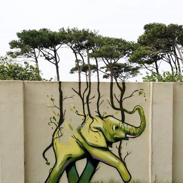 Karya-karya grafitinya begitu pas dan bisa menyatu dengan keadaan sekitarnya. (dok Falko Fantastic)