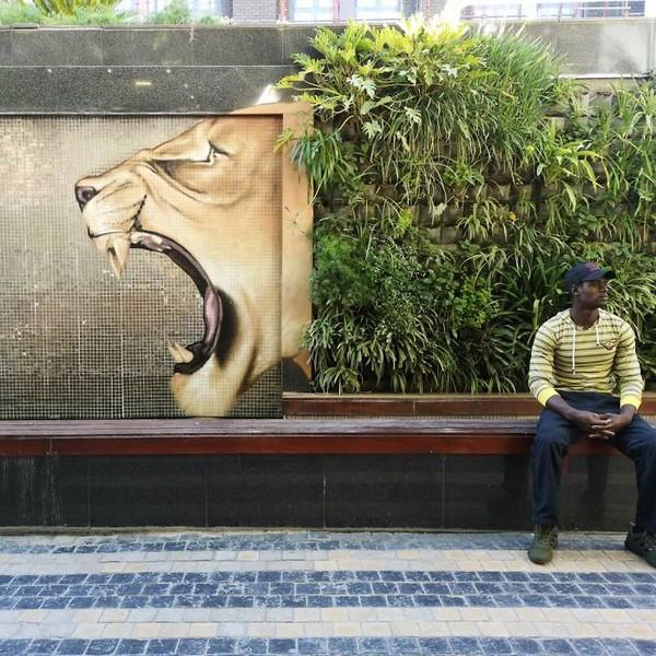 Falko ONe, seniman urban Afrika Selatan membawa kita dengan karya grafitinya dengan cara berbeda dan unik. (dok Falko Fantastic)