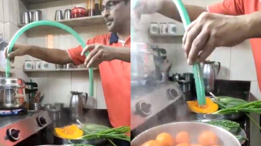 Takut Virus Corona, Pria Ini Bersihkan Sayuran dengan Uap Panci Presto