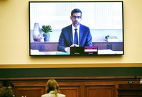 Facebook CEO Mark Zuckerberg testifies remotely during a House Judiciary subcommittee on antitrust on Capitol Hill on Wednesday, July 29, 2020, in Washington. (Mandel Ngan/Pool via AP)