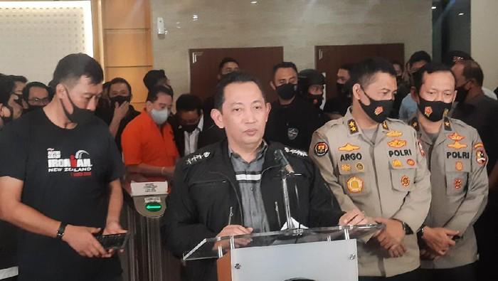 Kabareskrim Komjen Listyo Sigit Prabowo konferensi pers penangkapan Djoko Tjandra di kantor Bareskrim, Jakarta.
