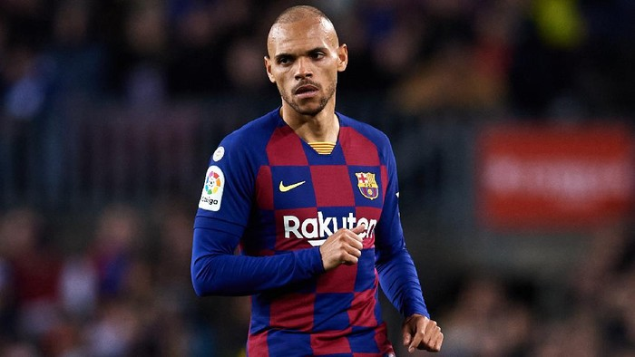 BARCELONA, SPAIN - MARCH 07: Martin Braithwaite of FC Barcelona looks on during the Liga match between FC Barcelona and Real Sociedad at Camp Nou on March 07, 2020 in Barcelona, Spain. (Photo by Alex Caparros/Getty Images)
