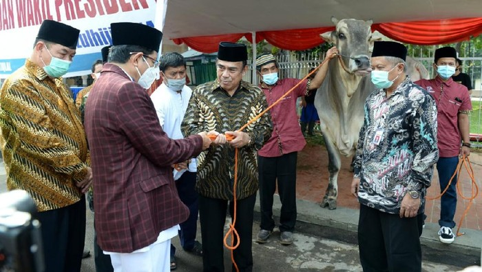 Menag Fachrul Razi menyerahkan sapi kurban dari Presiden Jokowi ke Masjid Istiqlal (Foto: Kris/Biro Pers Sekretariat Presiden)
