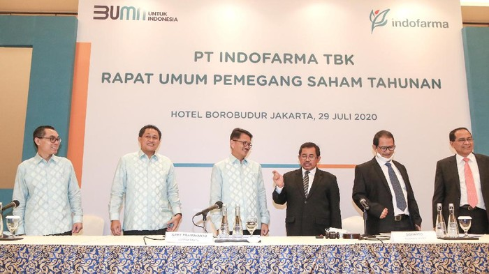 PT Indofarma Tbk menggelar Rapat Umum Pemegang Saham Tahunan (RUPST) di Jakarta, Rabu (29/7/2020).