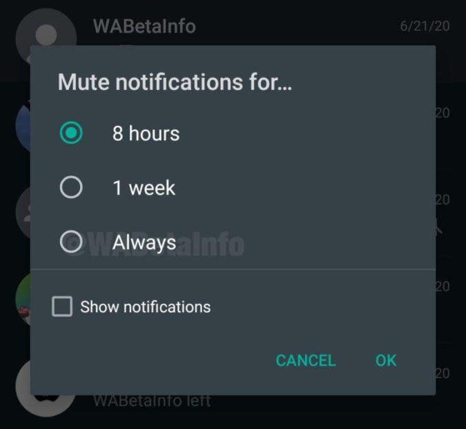 whatsapp mute grup
