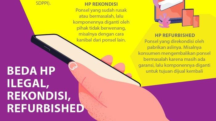 Infografis Beda HP Ilegal, Rekondisi dan Refurbished