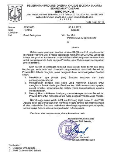 Pemprov DKI somasi artis FTV, Ike Muti.