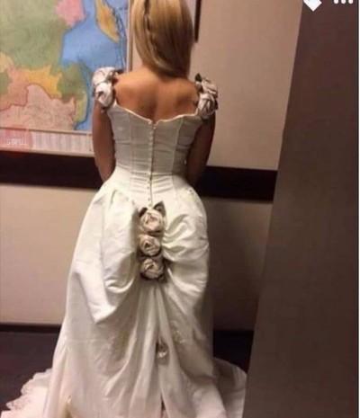 pengantin viral karena gaun pengantinnya