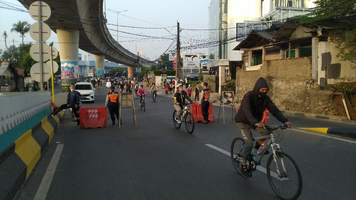 Suasana kawasan pesepeda JLNT Antasari, Minggu (2/8) pagi.