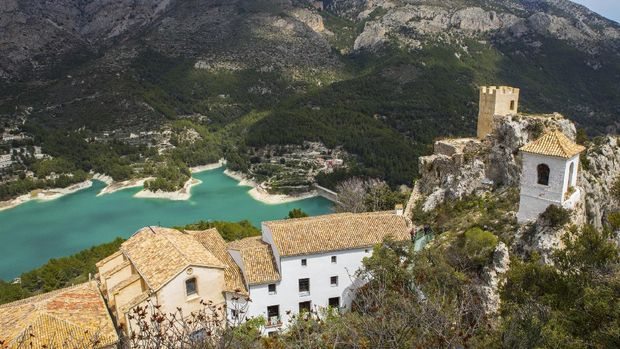 The beautiful view from Castillo de San Jose overlooking the picturesque landscape of Guadalest in Spain.