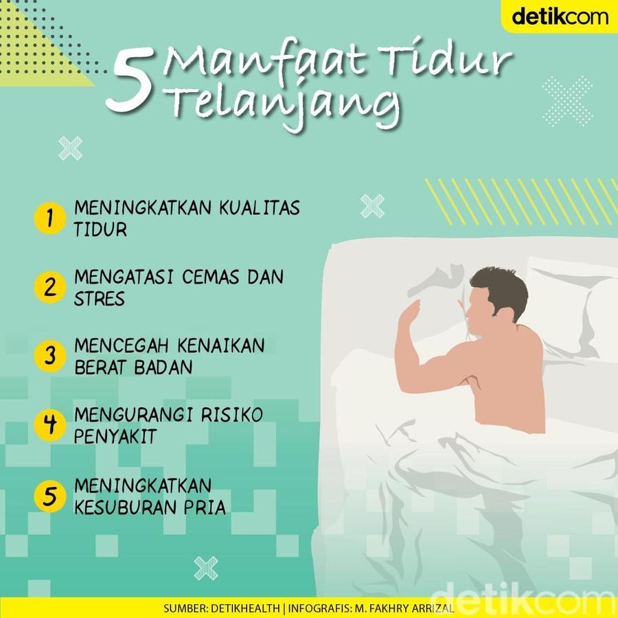 Infografis manfaat tidur telanjang