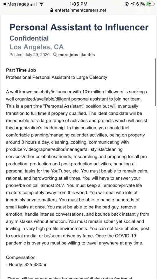 Lowongan pekerjaan asisten pribadi influencer.