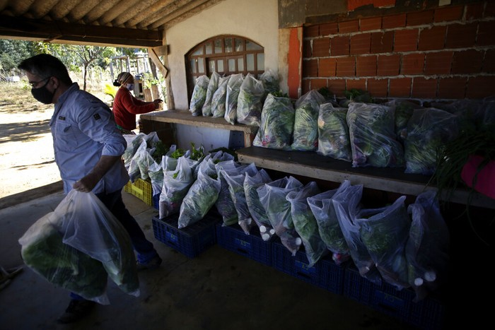 Wearing a mask to curb the spread of the new coronavirus, Valdir Franca Souza receives a handout of produce and basic supplies, in the Sol Nascente community, on the outskirts of Brasilia, Brazil, Sunday, Aug. 2, 2020. Connecting people from the countryside and the city, the group
