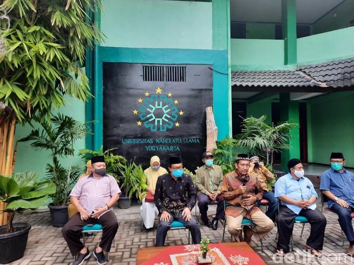 Pihak Universitas Nahdlatul Ulama (UNU) Yogyakarta jumpa pers soal kasus pelecehan seksual berkedok riset swinger, Selasa (4/8/2020).
