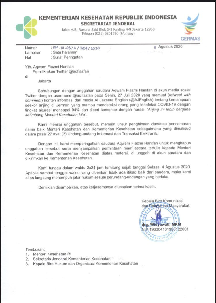 Surat peringatan Kemenkes untuk Aqwam Fiazmi Hanifan (Dok. Twitter Kemenkes)