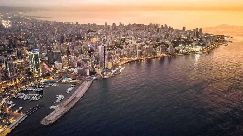 Drone footage of Beirut