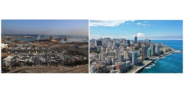 Sebelum dan sesudah ledakan di Libanon. (AP/Hassan Ammar)