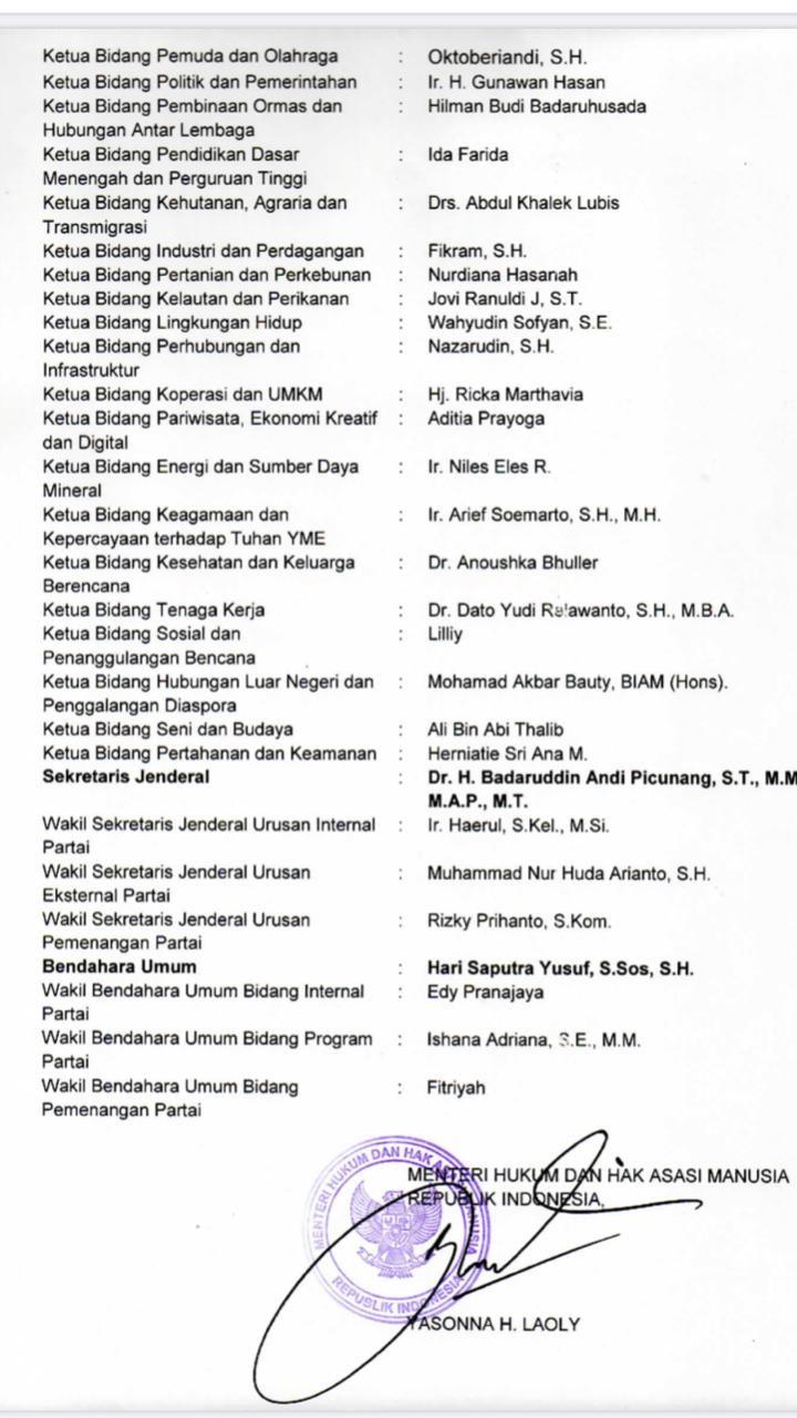 SK Kepengurusan Berkarya Kubu Muchdi PR
