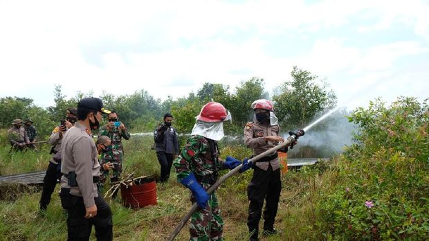 TNI-Polri Gelar Simulasi Penanganan Karhutla di Kalsel