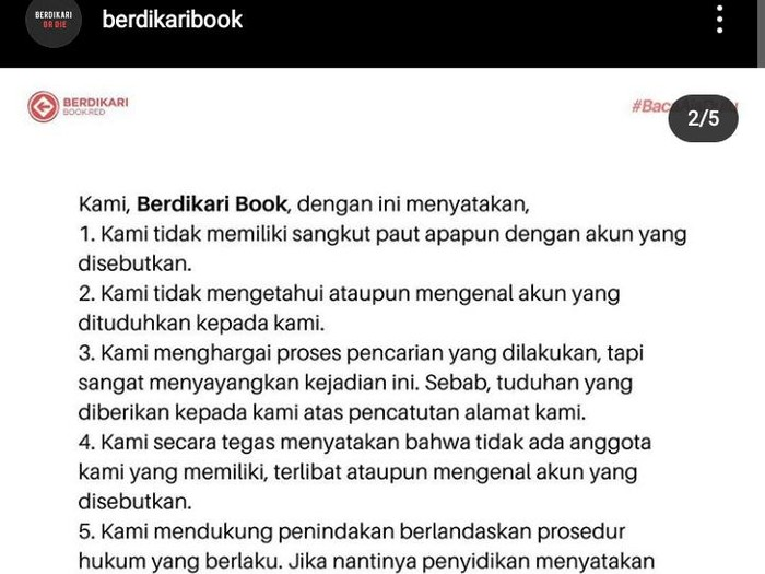 Klarifikasi Berdikari Book soal pencatutan alamat di media sosial, Kamis (6/8/2020).