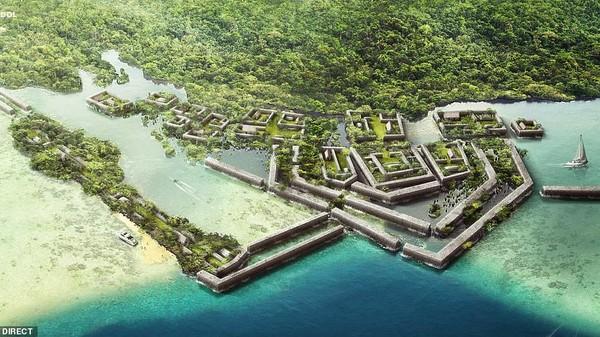 Kota kuno Nan Madol di Mikronesia yang tak ubahnya Atlantis. Kinikeberadaannya terancam hilang akibat meningginya permukaan air serta pepohonan mangrove di sekitarnya yang semain tinggi dan tak terurus (dok BudgetDirect)