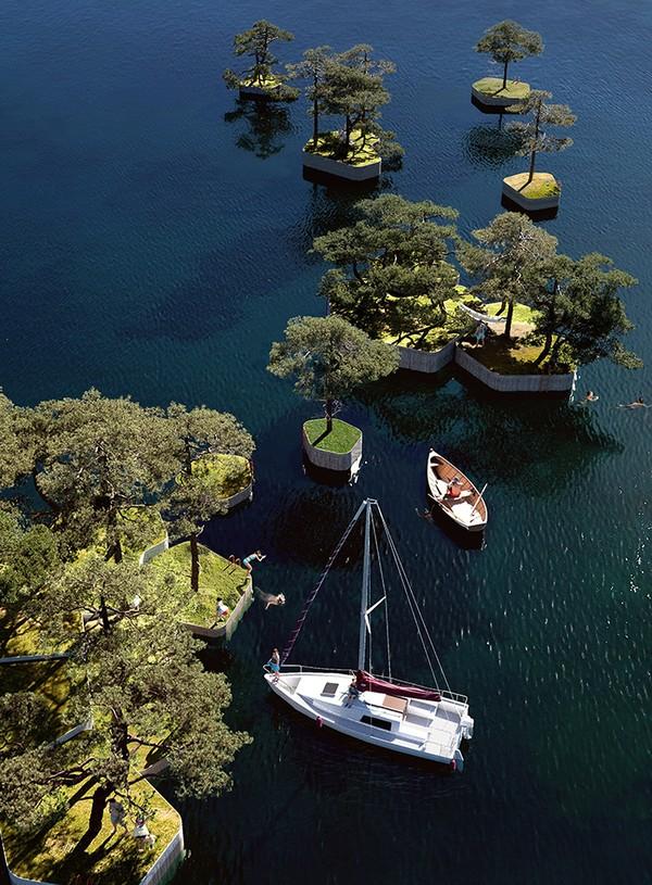 Parkipelago diciptakan sebagai ruak terbuka publik baru untuk bersantai dan melepas penat. Istimewa/dok.Bored Panda/Copenhagen Islands