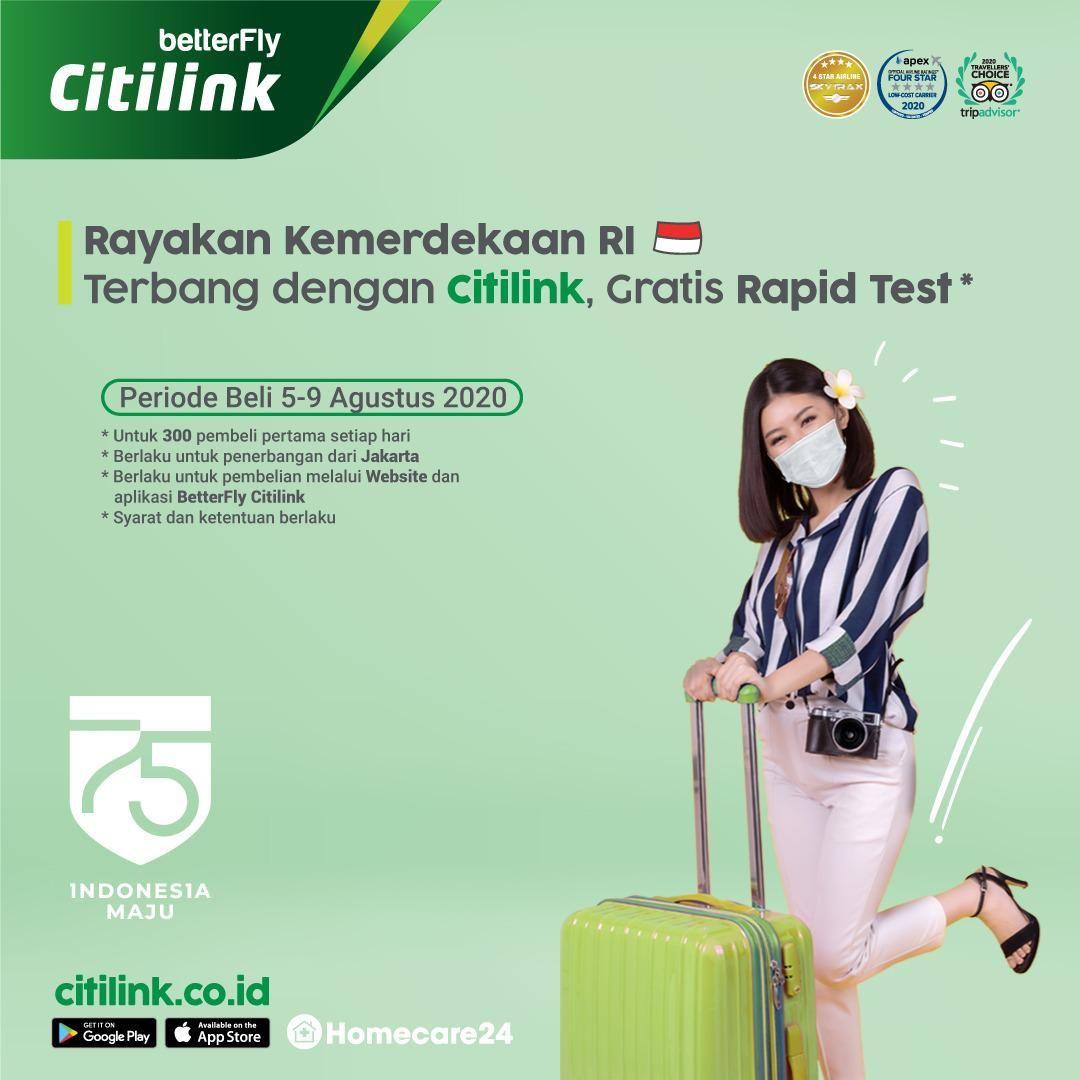 Rapid test gratis dari Citilink