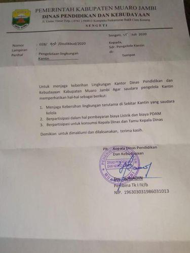Surat edaran soal Kadisdikbud di Muaro Jambi minta jatah makan yang viral.