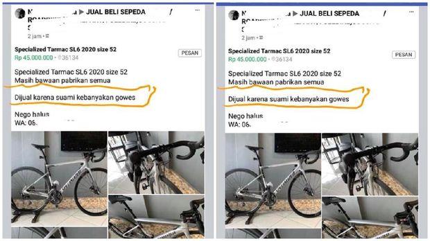 Viral sepeda dijual istri