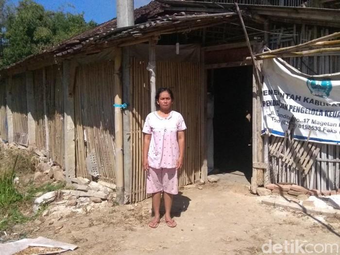 Seorang perempuan di Magetan dan dua anaknya  tinggal di bekas kandang ayam. Mereka tidak punya biaya untuk mengontrak rumah yang layak.