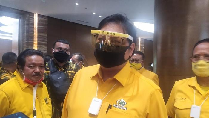 Ketum Golkar Airlangga Hartarto di Hotel Pullman, Jakarta, Minggu (9/8/2020).
