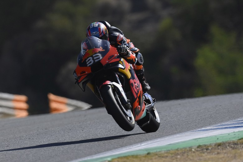 JEREZ DE LA FRONTERA, SPAIN - JULY 15:  Brad Binder of Germany and Red Bull KTM Factory Racing  lifts the front wheel during the MotoGP tests at the Circuito de Jerez on July 15, 2020 in Jerez de la Frontera, Spain. (Photo by Mirco Lazzari gp/Getty Images)
