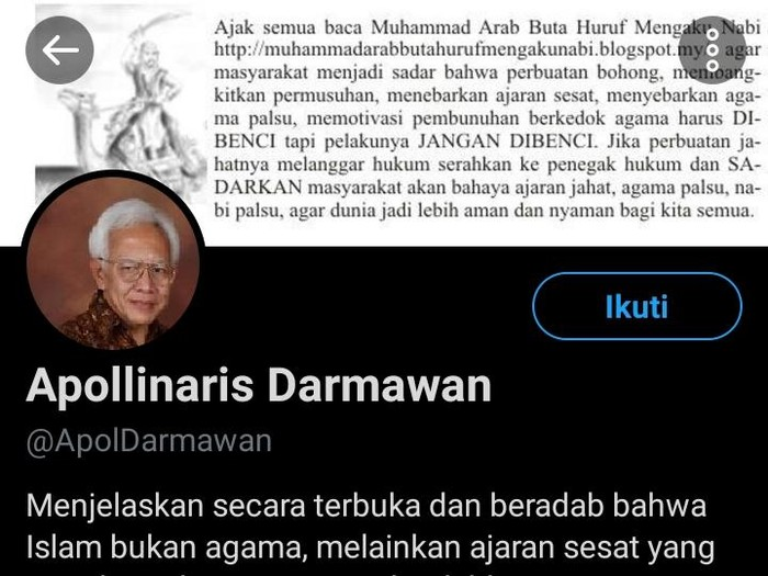 Apollinaris Darmawan yang Diduga Menghina Islam, Ini Faktanya
