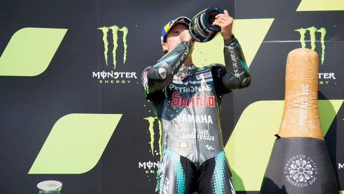 BRNO, CZECH REPUBLIC - AUGUST 09: Franco Morbidelli of Italy and Petronas Yamaha SRT celebrates the second place on the podium at the end of the MotoGP race during the MotoGP Of Czech Republic at Brno Circuit on August 09, 2020 in Brno, Czech Republic. (Photo by Mirco Lazzari gp/Getty Images)