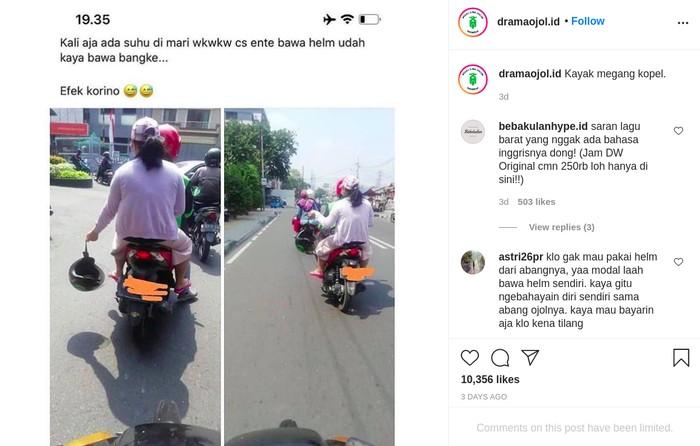 Penumpang Ojol Ogah Pakai Helm karena Takut Tertular Virus