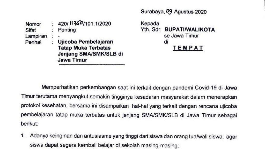 Beredar Surat Edaran Gubernur Khofifah Terkait Sekolah Tatap Muka di Jatim