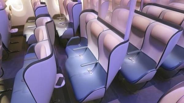Meja di masing-masing kursi yang disebut-sebut sebagai bagian terkotor di dalam kabin pesawat akan dihapus. PriestmanGoode optimis kursi penumpang itu bisa dirilis dalam tempo tiga tahun ke depan. (dok. PriestmanGoode)