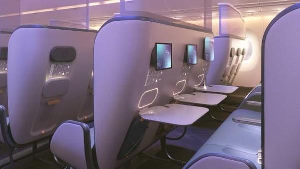 Untuk kursi kelas ekonomi, Pure Skies Zones, ditandai dengan layar pembatas antara kursi depan dan belakang yang tingginya hingga ke langit-langit pesawat. (dok. PriestmanGoode)