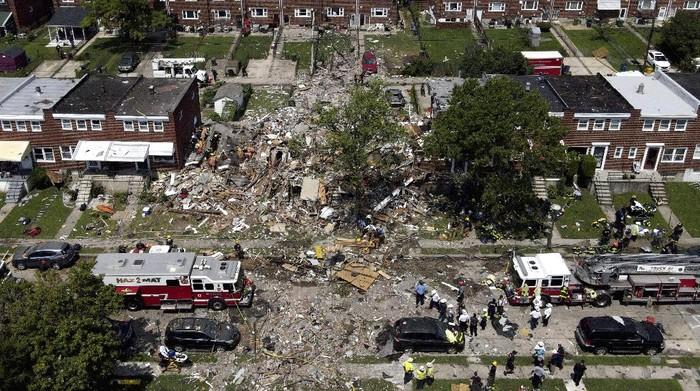 Ledakan besar mengguncang area permukiman di Baltimore, Amerika Serikat (AS). Sedikitnya satu wanita tewas dan tujuh orang lainnya luka-luka.