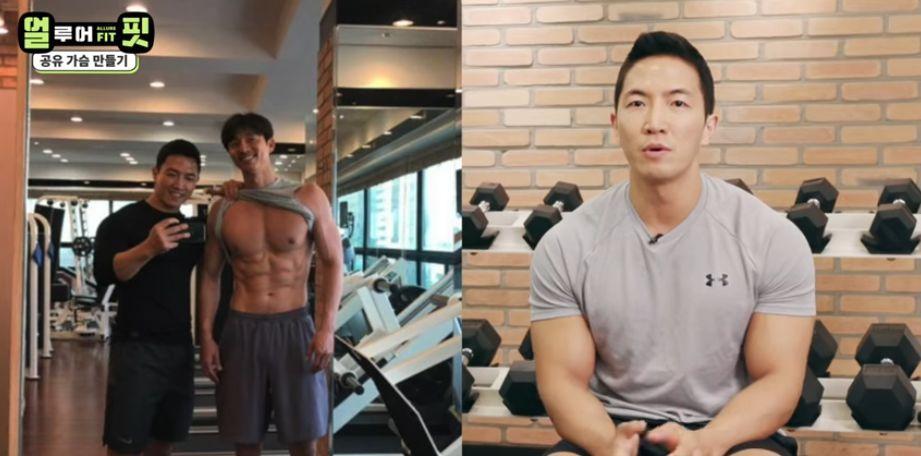 Gong Yoo yang kini punya perut 'roti sobek' alias sixpack, foto bareng pelatih pribadinya.