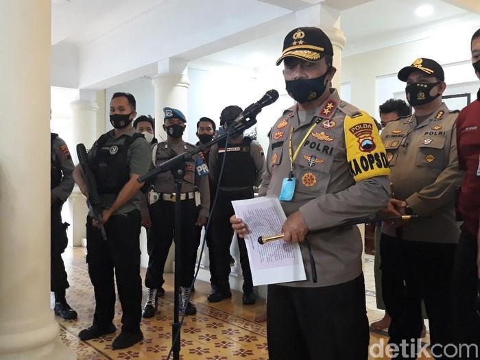 Konferensi pers Kapolda Jawa Tengah, Irjen Ahmad Luthfi, terkait penyerangan acara pernikahan anak Habib Umar Assegaf di Polresta Solo, Selasa (11/8/2020).