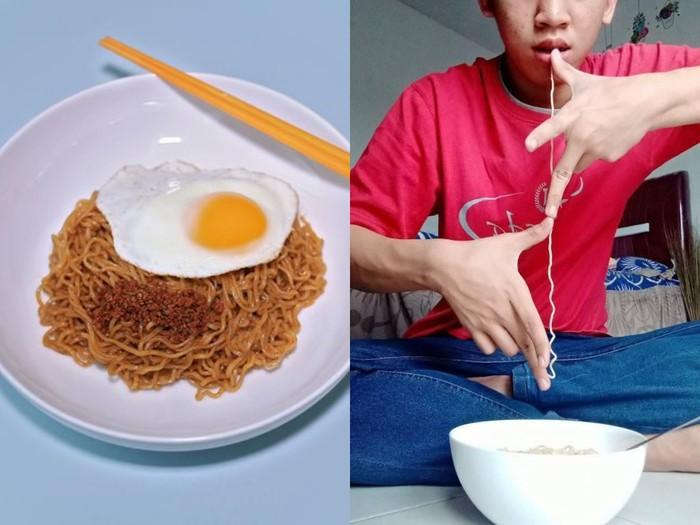 Netizen senang ngukur panjang mie instan pakai jengkal tangan