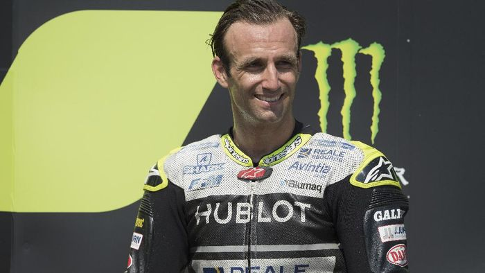 BRNO, CZECH REPUBLIC - AUGUST 09: Johann Zarco of France and Reale Avintia Racing celebrates the third place on the podium at the end of the MotoGP race during the MotoGP Of Czech Republic at Brno Circuit on August 09, 2020 in Brno, Czech Republic. (Photo by Mirco Lazzari gp/Getty Images)